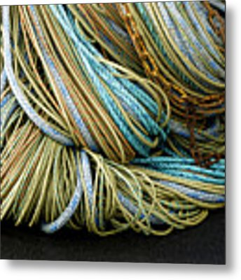 Colorful Pile Of Fishing Nets And Ropes Metal Print by Carol Leigh
