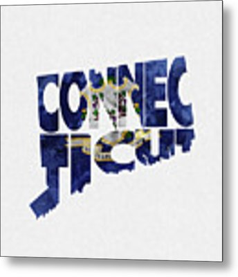Connecticut Typographic Map Flag Metal Print by Inspirowl Design