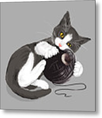 Death Star Kitty Metal Print by Olga Shvartsur