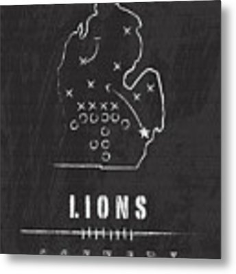 Detroit Lions Art - Nfl Football Wall Print Metal Print by Damon Gray