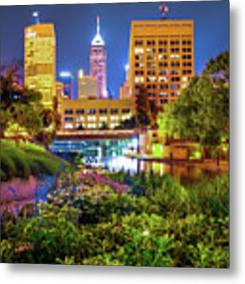 Downtown Indianapolis Skyline At Night Metal Print