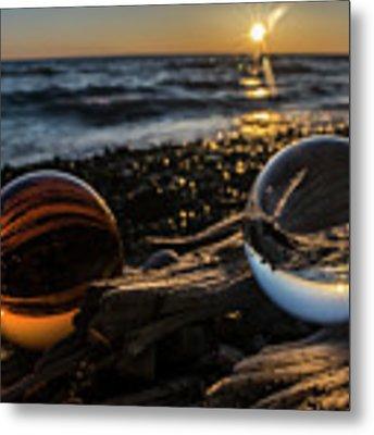 Dual Glass Balls At Sun Rise On A Beach  Metal Print by Sven Brogren