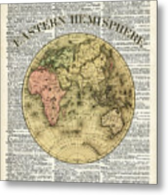 Eastern Hemisphere Earth Map Over Dictionary Page Metal Print by Anna W