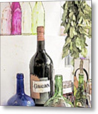Empty Bottles And Laurel Bouquet Still Life Metal Print by Heiko Koehrer-Wagner