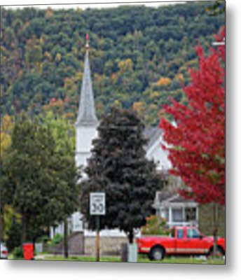 Fall At South Baker Street Winona Minn Metal Print by Kari Yearous
