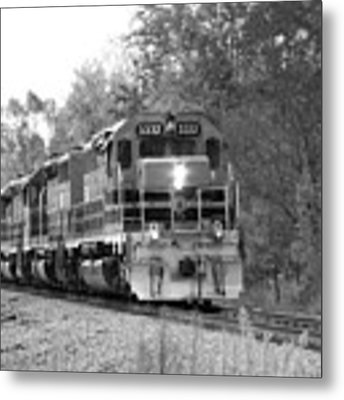Fall Train In Black And White Metal Print by Rick Morgan