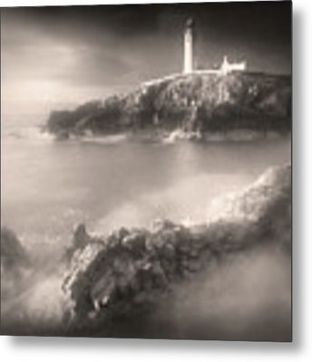 Fanad Lighthouse In The Mist Metal Print by Susan Maxwell Schmidt