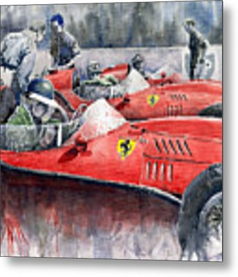Ferrari Dino 246 F1 1958 Mike Hawthorn French Gp  Metal Print by Yuriy Shevchuk