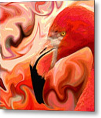 Flamingoed An Abstract In Pink Metal Print by Shelli Fitzpatrick