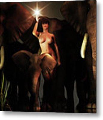 Freedom To The Elephants Metal Print by Jan Keteleer