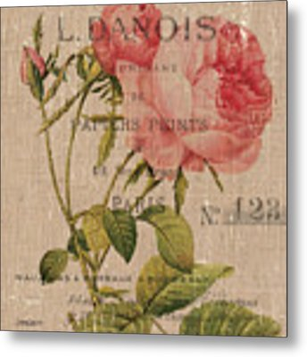 French Burlap Floral 2 Metal Print by Debbie DeWitt