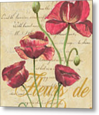 French Pink Poppies Metal Print by Debbie DeWitt