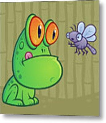 Frog And Dragonfly Metal Print by John Schwegel