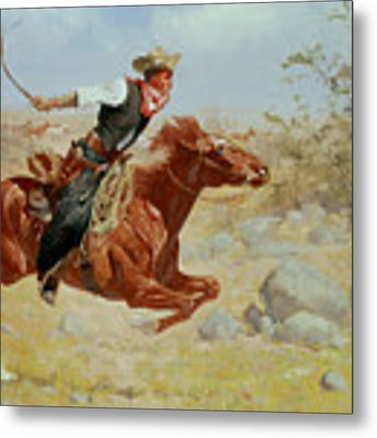 Galloping Horseman Metal Print by Frederic Remington