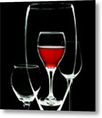 Glass Of Wine In Glass Metal Print