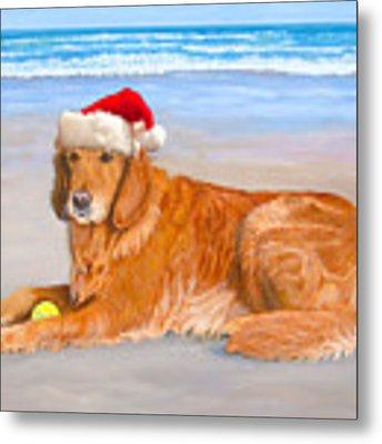 Golden Retreiver Holiday Card Metal Print by Karen Zuk Rosenblatt