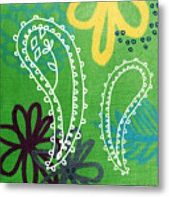 Green Paisley Garden Metal Print by Linda Woods