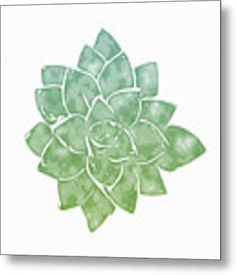 Green Succulent 1- Art By Linda Woods Metal Print by Linda Woods