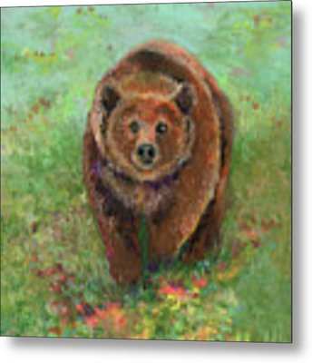 Grizzly In The Meadow Metal Print by Lauren Heller