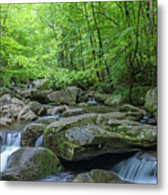 High Shoals Falls Trail In South Mountain Panorama Metal Print by Ranjay Mitra