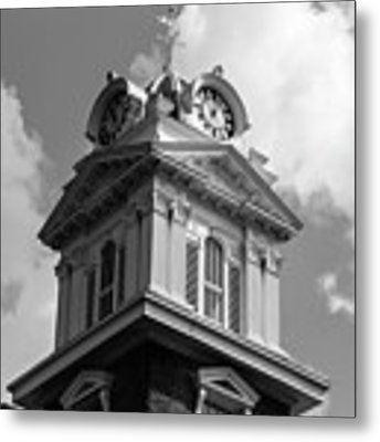 Historic Courthouse Steeple In Bw Metal Print by Doug Camara