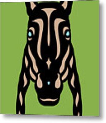 Horse Face Rick - Horse Pop Art - Greenery, Hazelnut, Island Paradise Blue Metal Print by Manuel Sueess