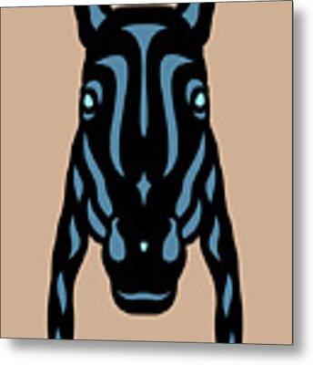 Horse Face Rick - Horse Pop Art - Hazelnut, Niagara Blue, Island Paradise Blue Metal Print by Manuel Sueess