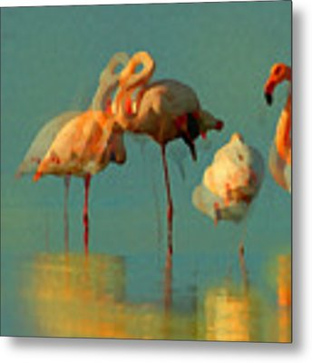 Impressionist Flamingo Abstract Metal Print by Shelli Fitzpatrick
