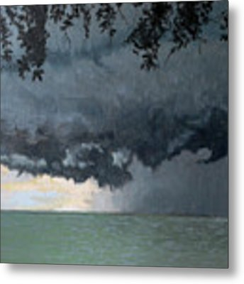 In Coming Storm-epping Forest On The Lake Metal Print by Wade Clark