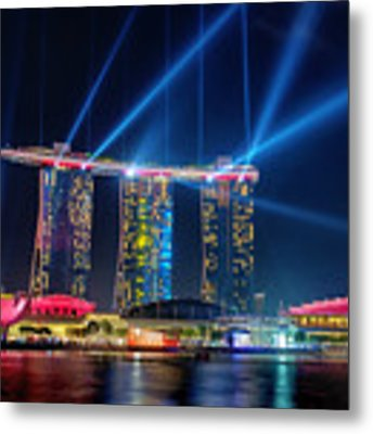 Laser Show At Mbs Singapore Metal Print by Yew Kwang