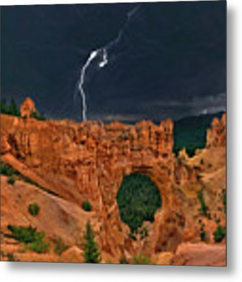 Lightning Over Natural Bridge Formation Bryce Canyon National Park Utah Metal Print by Dave Welling