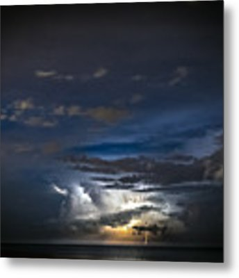 Lightning's Water Dance Metal Print by Steven Santamour