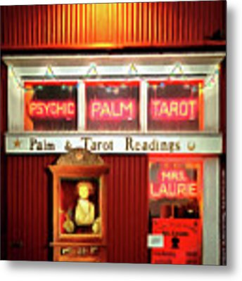 Madame Lauries Psychic Palm Tarot Fortune Be Told Closed For Holiday Please Use Atm Circa 2016 Metal Print by Wingsdomain Art and Photography