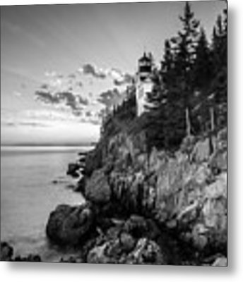Maine Acadia Bass Harbor Lighthouse In Black And White Metal Print by Ranjay Mitra