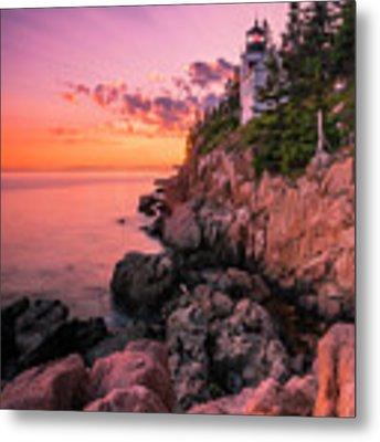 Maine Acadia Bass Harbor Lighthouse Sunset Metal Print by Ranjay Mitra