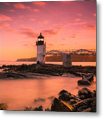 Maine Lighthouse Marshall Point At Sunset Metal Print by Ranjay Mitra