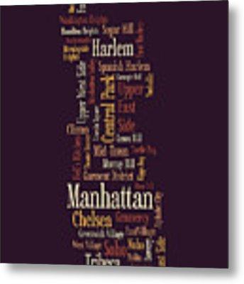 Manhattan New York Typographic Map Metal Print by Michael Tompsett