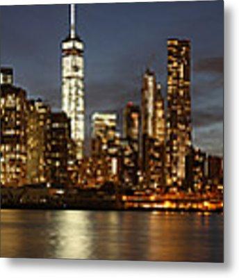 Manhattan Skyline At Night - Panorama Metal Print by Nathan Rupert