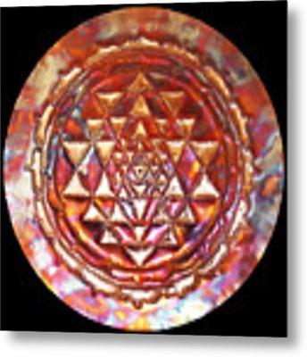 Mini Sri Yantra Kupfer Lichtmandala  Metal Print by Robert Thalmeier