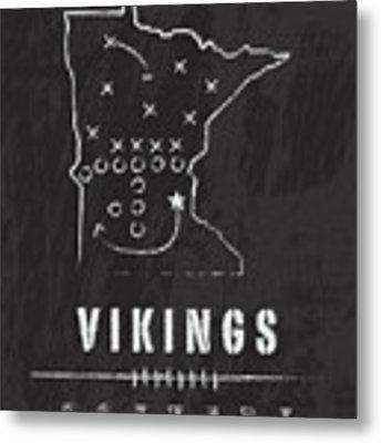 Minnesota Vikings Art - Nfl Football Wall Print Metal Print by Damon Gray