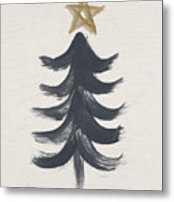 Modern Primitive Black And Gold Tree 1- Art By Linda Woods Metal Print