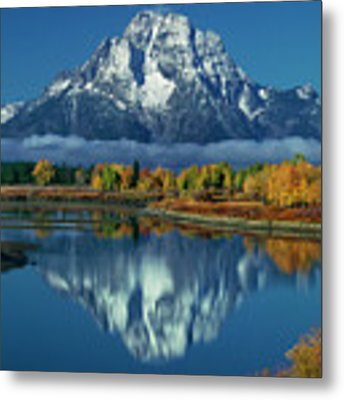 Morning Cloud Layer Oxbow Bend In Fall Grand Tetons National Park Metal Print by Dave Welling