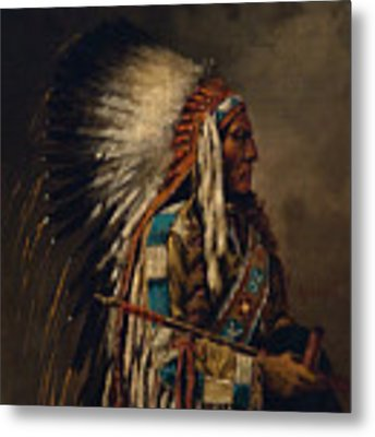 Nez Perce Chief Metal Print by Edgar S Paxson