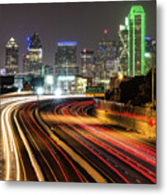 Night Dallas Skyline Square Format Metal Print by Gregory Ballos