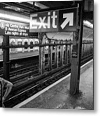 Nyc Subway At Night Metal Print by Ranjay Mitra