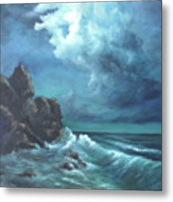 Seascape And Moonlight An Ocean Scene Metal Print by Katalin Luczay