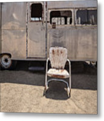 Old 1930 Silver Camping Trailer Metal Print by Edward Fielding