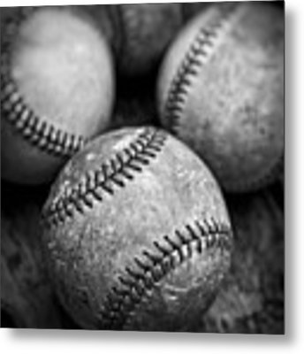 Old Baseballs In Black And White Metal Print by Edward Fielding