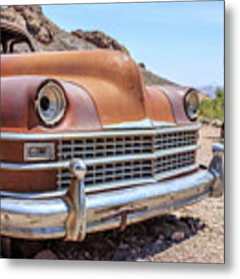 Old Cars In The Desert, Eldorado Canyon, Nevada Metal Print by Edward Fielding