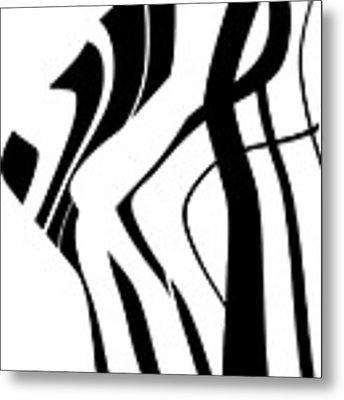 Organic No 4 Black And White Metal Print by Menega Sabidussi